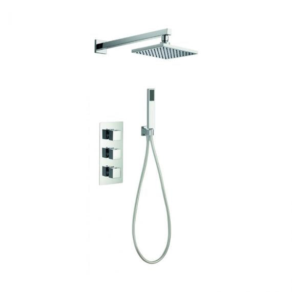 Pura Bloque2 Twin Outlet Shower Valve with Fixed Shower Head & Handset