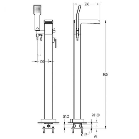 Flova Cascade Floorstanding Bath Shower Mixer & Handset