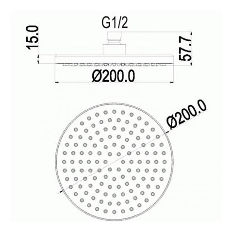 Pura Design 200mm Round ABS Shower Head