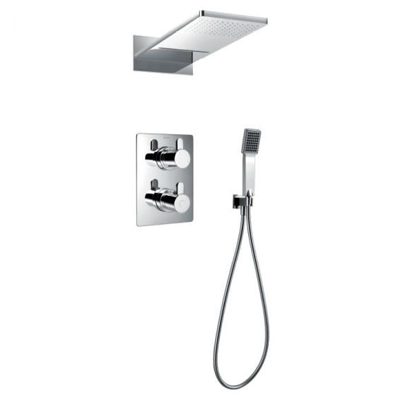 Flova Essence Thermostatic Shower Valve, Head & Handset