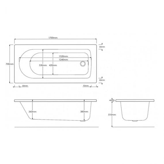Pura Curve 1700 x 700mm Single Ended Bath