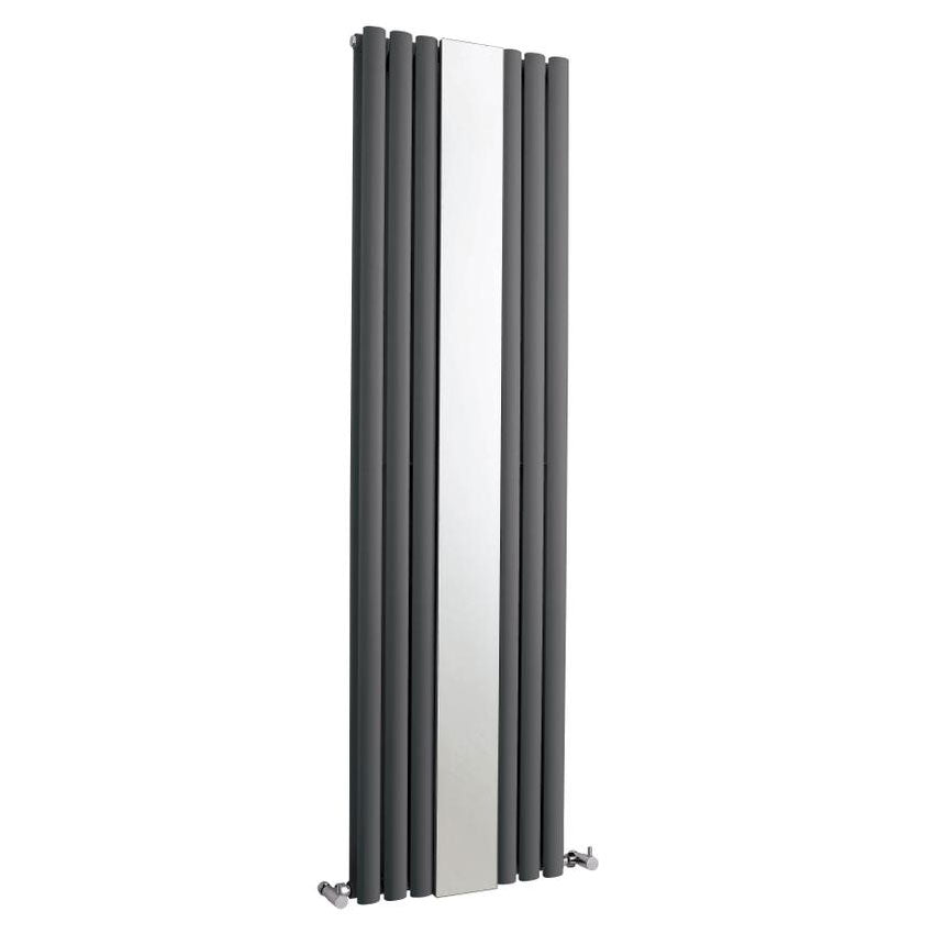 Hudson Reed Revive 1800 x 499mm Double Panel Designer Radiator with Mirror - Anthracite - HLA79