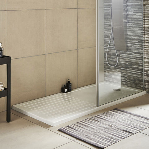 Hudson Reed Rectangular 40mm ABS Capped Acrylic Walk-In Shower Tray with Drying Area