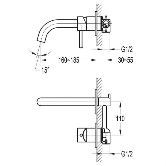 Flova Levo Wall Mounted Single Lever Basin Mixer Inc Waste