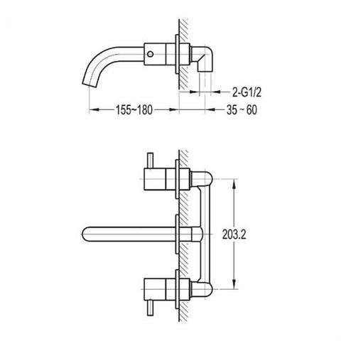 Flova Levo Wall Mounted Twin Lever Basin Mixer Inc Waste