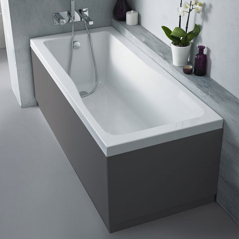 Hudson Reed Gloss Grey 750 End Straight Bath Panel - OFF971