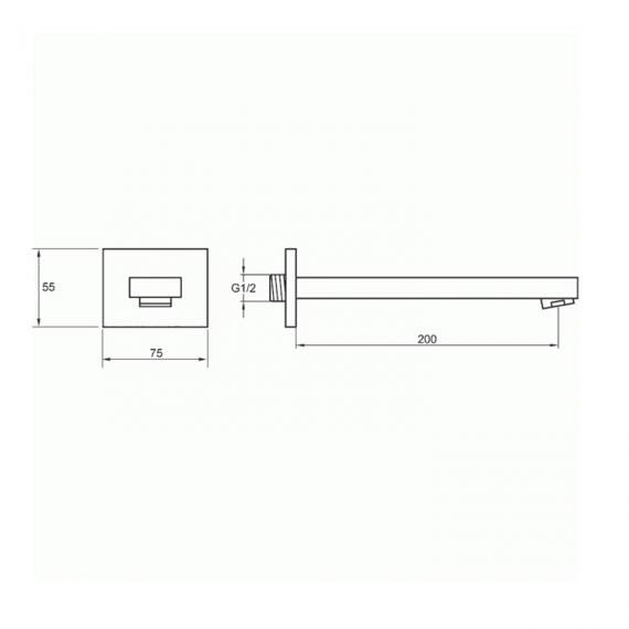 Pura Bloque Basin / Bath Wall Mounted Spout