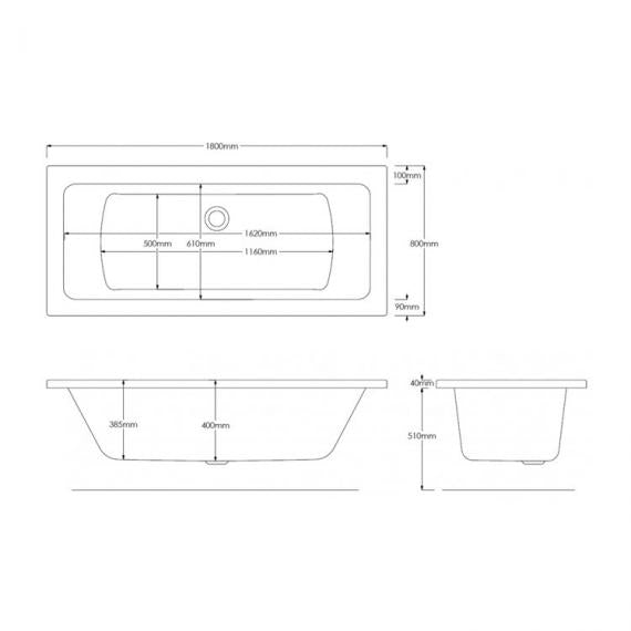 Pura SQR 1800 x 800mm Double Ended Bath