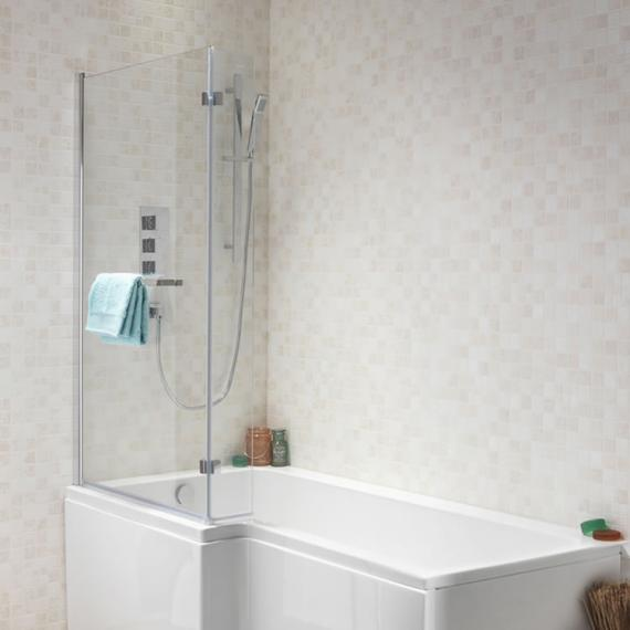 Pura SQR 1500mm Left Hand Shower Bath