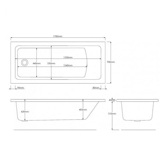 Pura SQR 1700 x 700mm Single Ended Bath