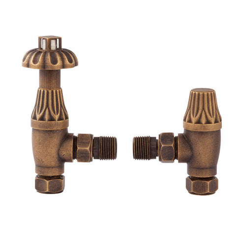 Hudson Reed - Traditional Thermostatic Angled Radiator Valves - Antique Brass - RV006