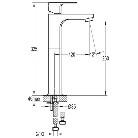 Flova Smart Tall Basin Mixer Inc Waste