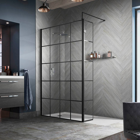 Hudson Reed Black Frame Wetroom Screen with Support Arm