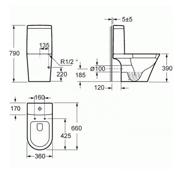 Pura Arco Compact Close Coupled Toilet