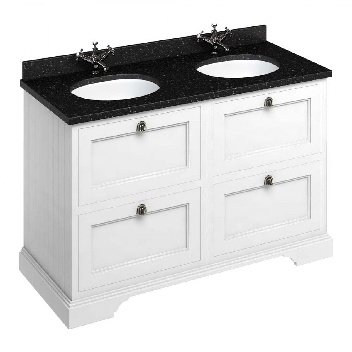 BURLINGTON 130 DRAWER VANITY UNIT WITH MINERVA WORKTOP & DOUBLE BASIN - 1296MM