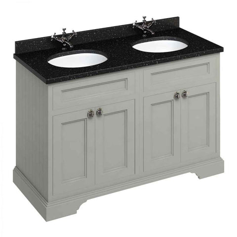 BURLINGTON 130 VANITY UNIT WITH MINERVA WORKTOP & DOUBLE VANITY BOWL - 1296MM