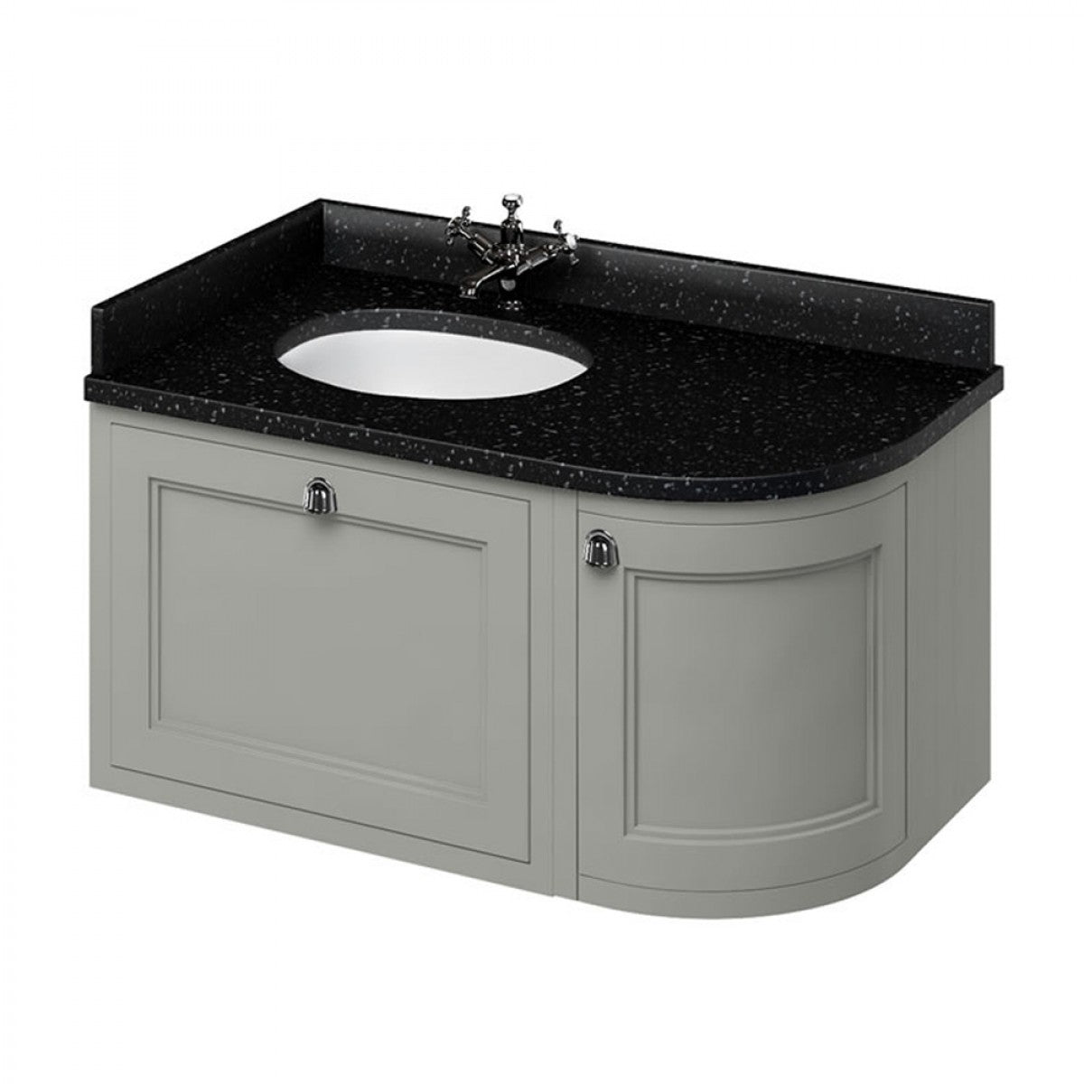 BURLINGTON 100 LEFT HAND CORNER WALL HUNG VANITY UNIT WITH MINERVA WORKTOP & BASIN