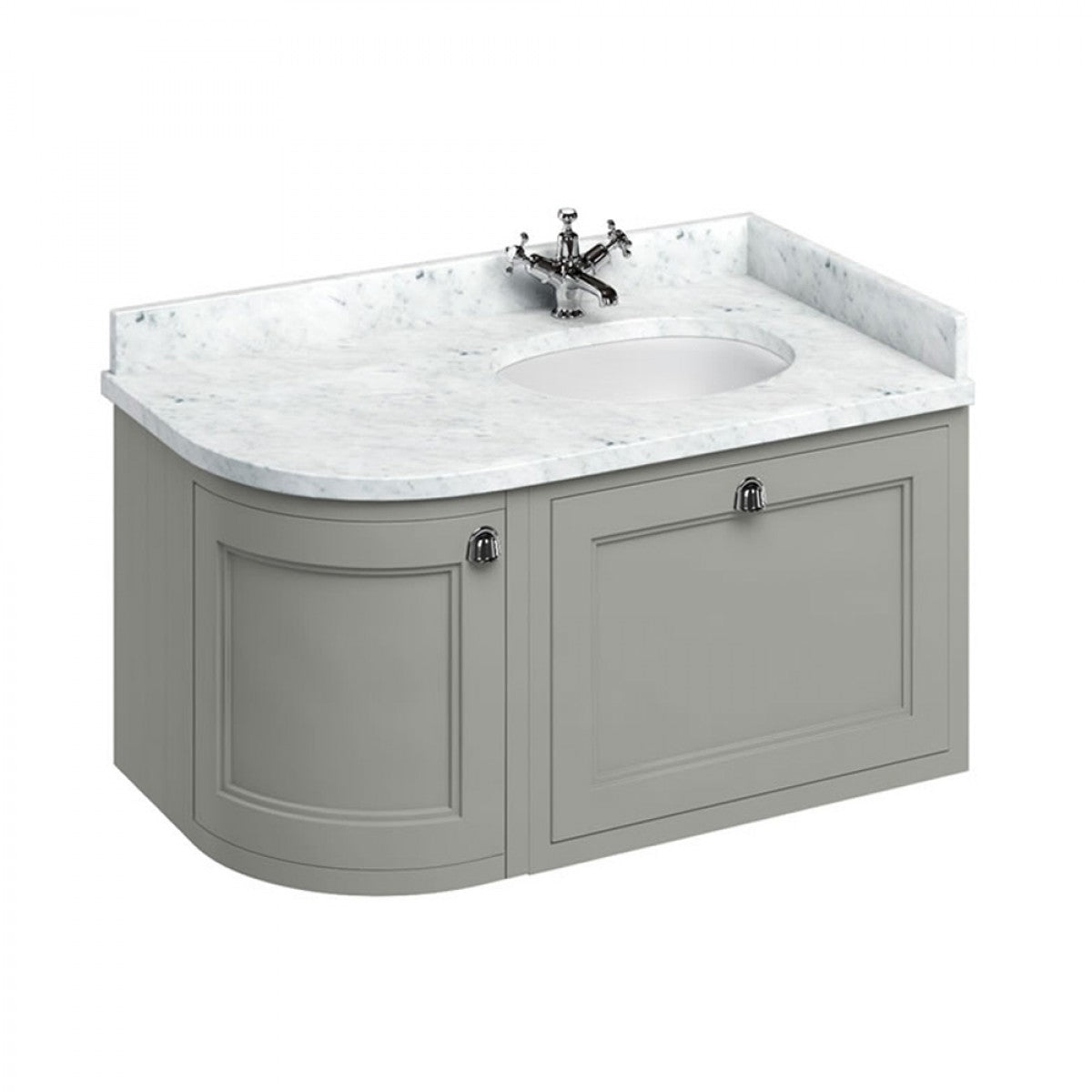 BURLINGTON 100 RIGHT HAND CORNER WALL HUNG VANITY UNIT WITH MINERVA WORKTOP & BASIN