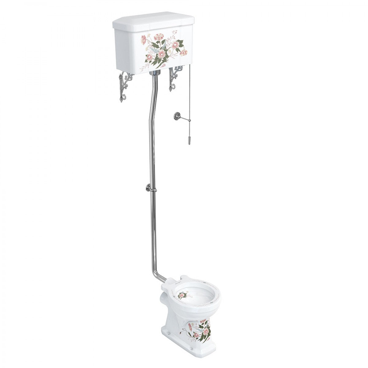 BURLINGTON ENGLISH GARDEN COLLECTION HIGH LEVEL TOILET & SOFT CLOSE SEAT - 670MM PROJECTION