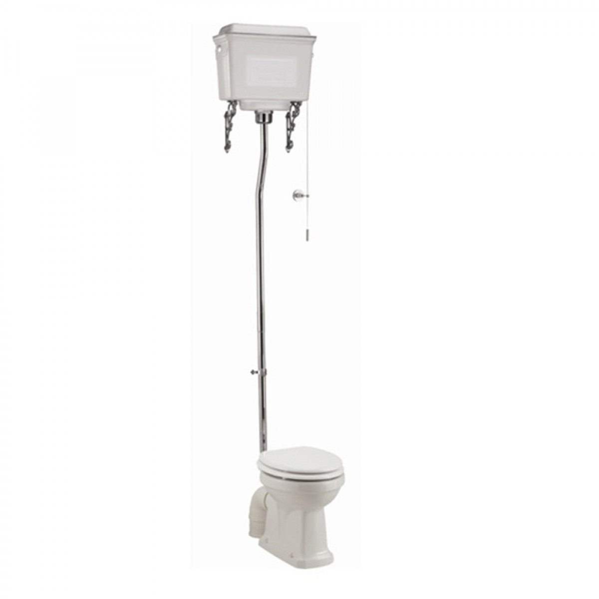 BURLINGTON HIGH LEVEL TOILET, WHITE ALUMINIUM CISTERN & SOFT CLOSE SEAT - 670MM PROJECTION