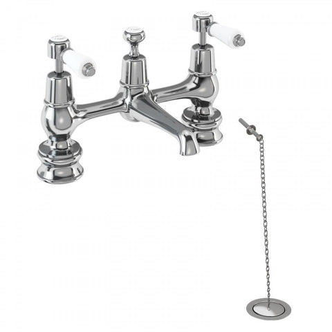 BURLINGTON KENSINGTON BRIDGE MIXER TAP WITH SWIVELING SPOUT AND WASTE