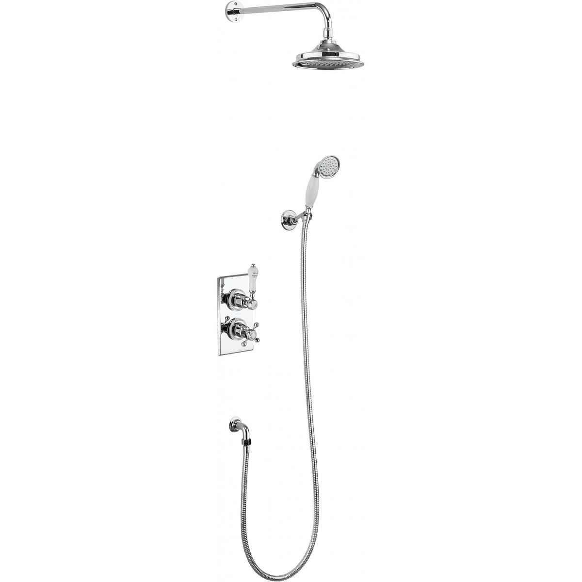 BURLINGTON TRENT CONCEALED THERMOSTATIC SHOWER KIT WITH AIRBURST SHOWER HEAD AND CERAMIC HANDLE HANDSET