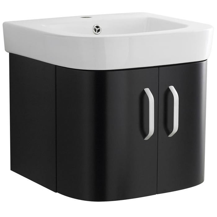 Revo Rio Wall Mounted Vanity unit Black 500mm
