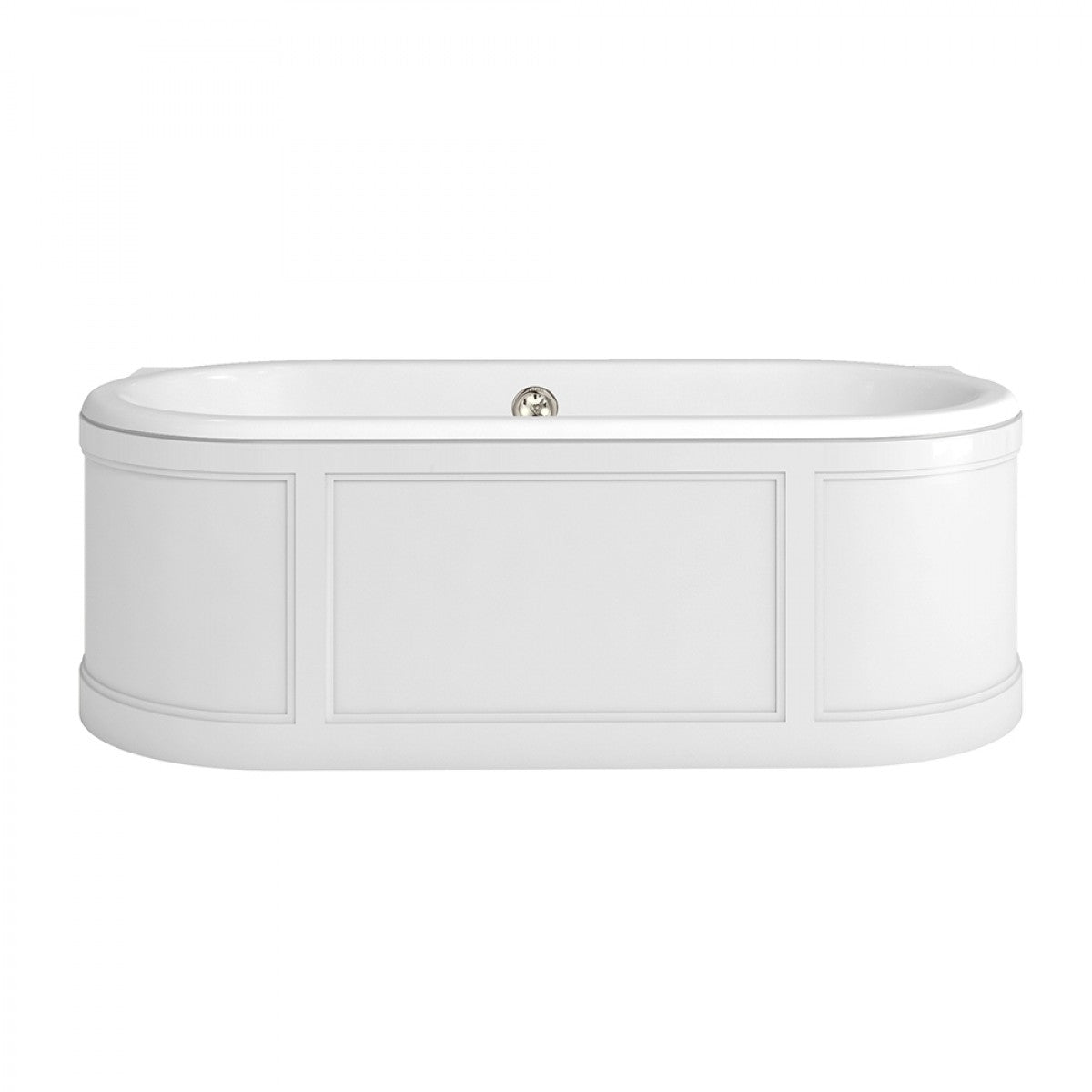 BURLINGTON LONDON BATH WITH CURVED SURROUND, OVERFLOW AND WASTE - 1800 X 850MM