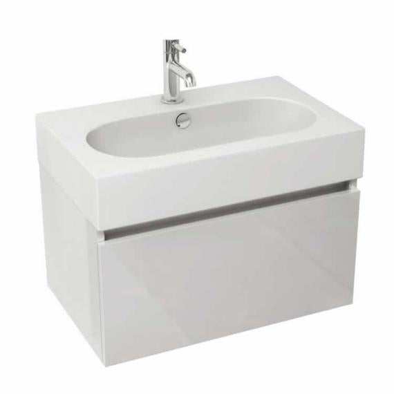Pura Echo 80 x 45cm Wall Mounted Unit & Basin - White Gloss