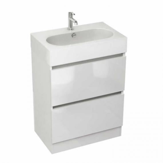 Pura Echo 60 x 38cm Floor Mounted Unit & Basin - White Gloss