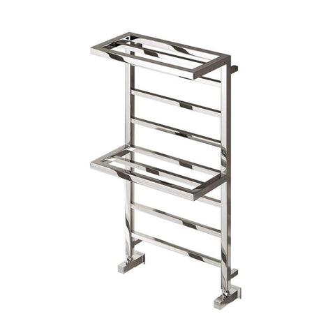 REINA ELVINA2 DESIGNER HEATED TOWEL WARMER WITH DOUBLE TOWEL RACK - CHROME - 1000 X 500MM