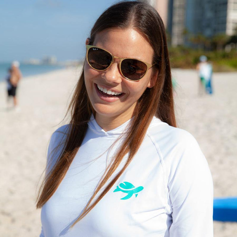 Woman wearing Shore Sun Safe Long Sleeve