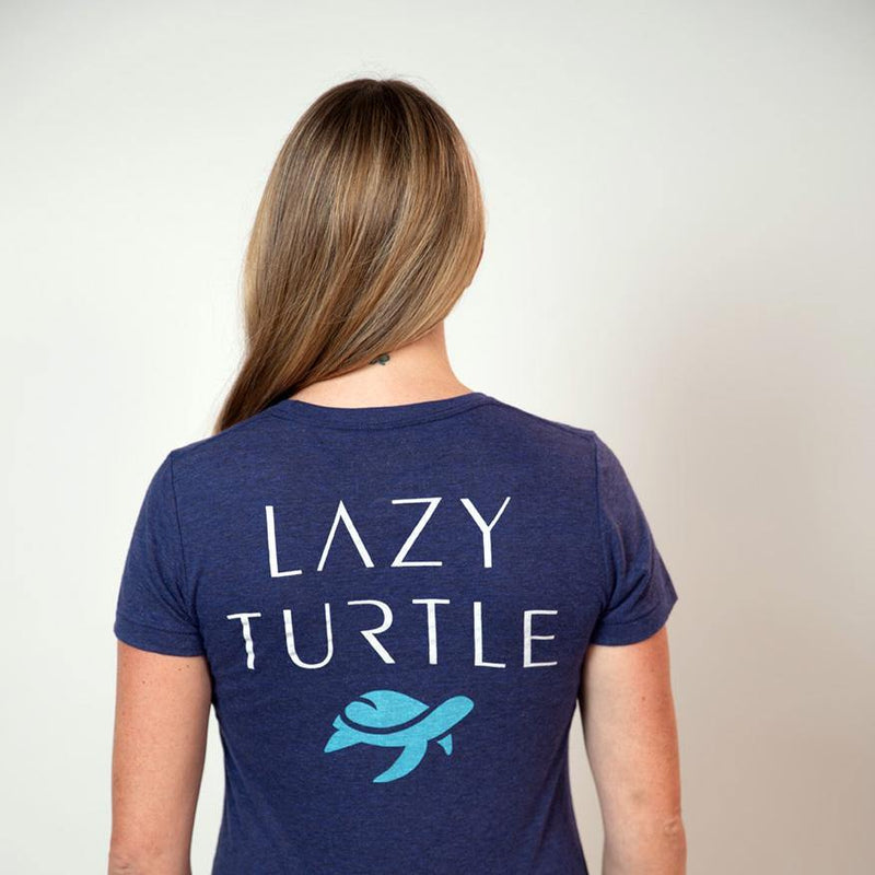 Back view of woman wearing Turtle Tee