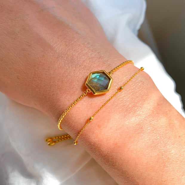 Rosina 18ct Gold Vermeil Hexagon Gemstone Bracelet - Labradorite