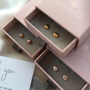 Lena 18ct Rose Gold Vermeil Pebble Stud Earrings