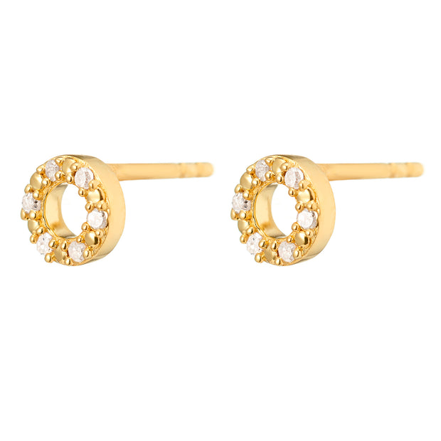 Una 18ct Gold Vermeil Diamond Halo Studs