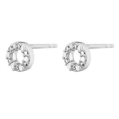 Una Sterling Silver Diamond Halo Stud Earrings