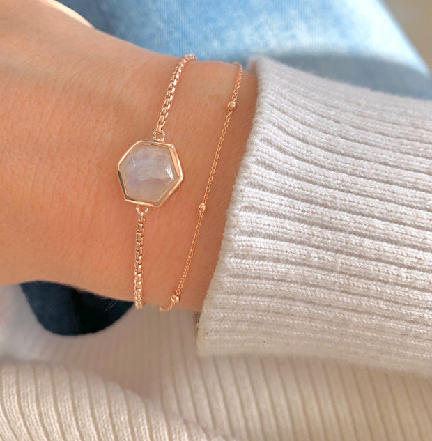 Rosina 18ct Rose Gold Vermeil Hexagon Gemstone Bracelet - Moonstone