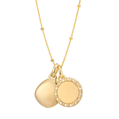 Una 18ct Gold Vermeil Diamond and Lena Necklace Set with Beaded Chain