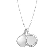 Una Sterling Silver Diamond and Lena Necklace Set with Beaded Chain