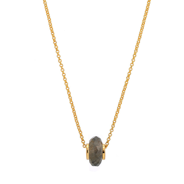 Libbie 18ct Gold Vermeil Gemstone Charm Necklace - Labradorite