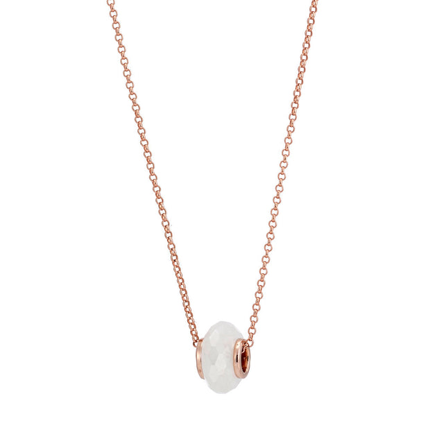 Libbie 18ct Rose Gold Vermeil Gemstone Charm Necklace - Rainbow Moonstone