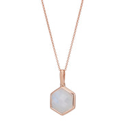 Rosina 18ct Rose Gold Vermeil Hexagon Gemstone Necklace - Rainbow moonstone