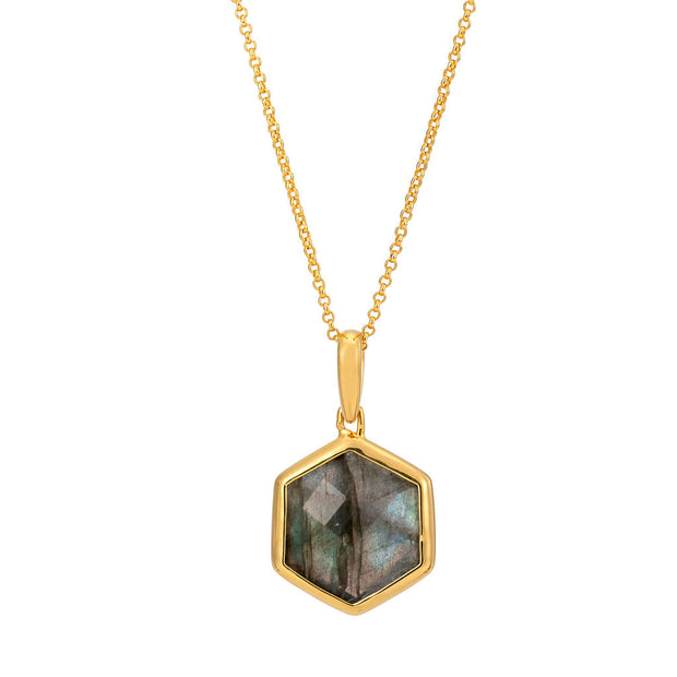 Rosina 18ct Gold Vermeil Hexagon Gemstone Necklace - Labradorite