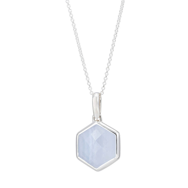 Rosina Sterling Silver Hexagon Gemstone Necklace - Blue Lace Agate
