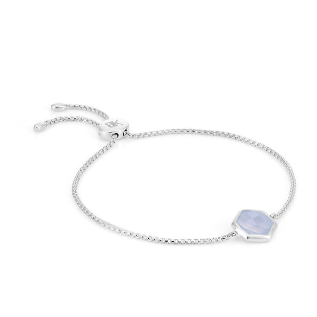 Rosina Sterling Silver Hexagon Gemstone Bracelet - Blue Lace Agate