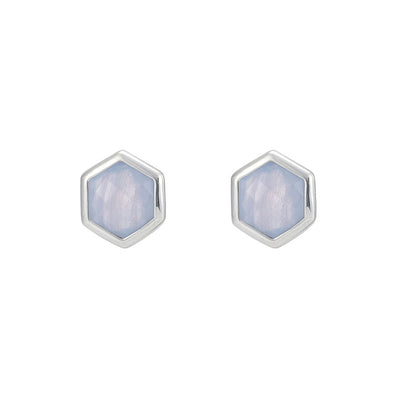 Rosina Sterling Silver Hexagon Gemstone Stud Earrings  - Blue Lace Agate