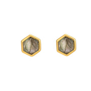 Rosina 18ct Gold Vermeil Hexagon Gemstone Stud Earrings - Labradorite