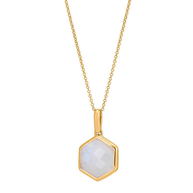 Rosina 18ct Gold Vermeil Hexagon Gemstone Necklace – Rainbow Moonstone