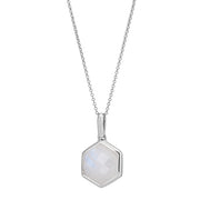 Rosina Sterling Silver Hexagon Gemstone Necklace – Rainbow Moonstone